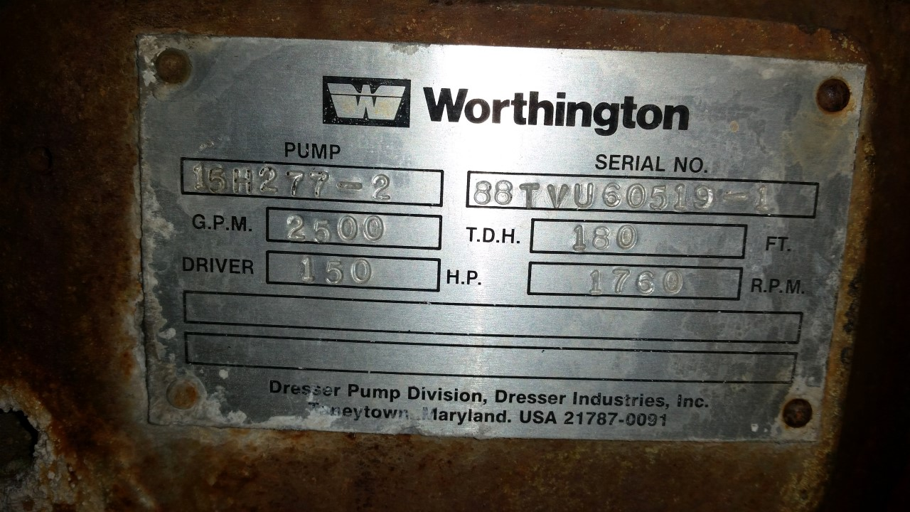 Worthington 15h277 2 Vertical Turbine Pump Transamerican