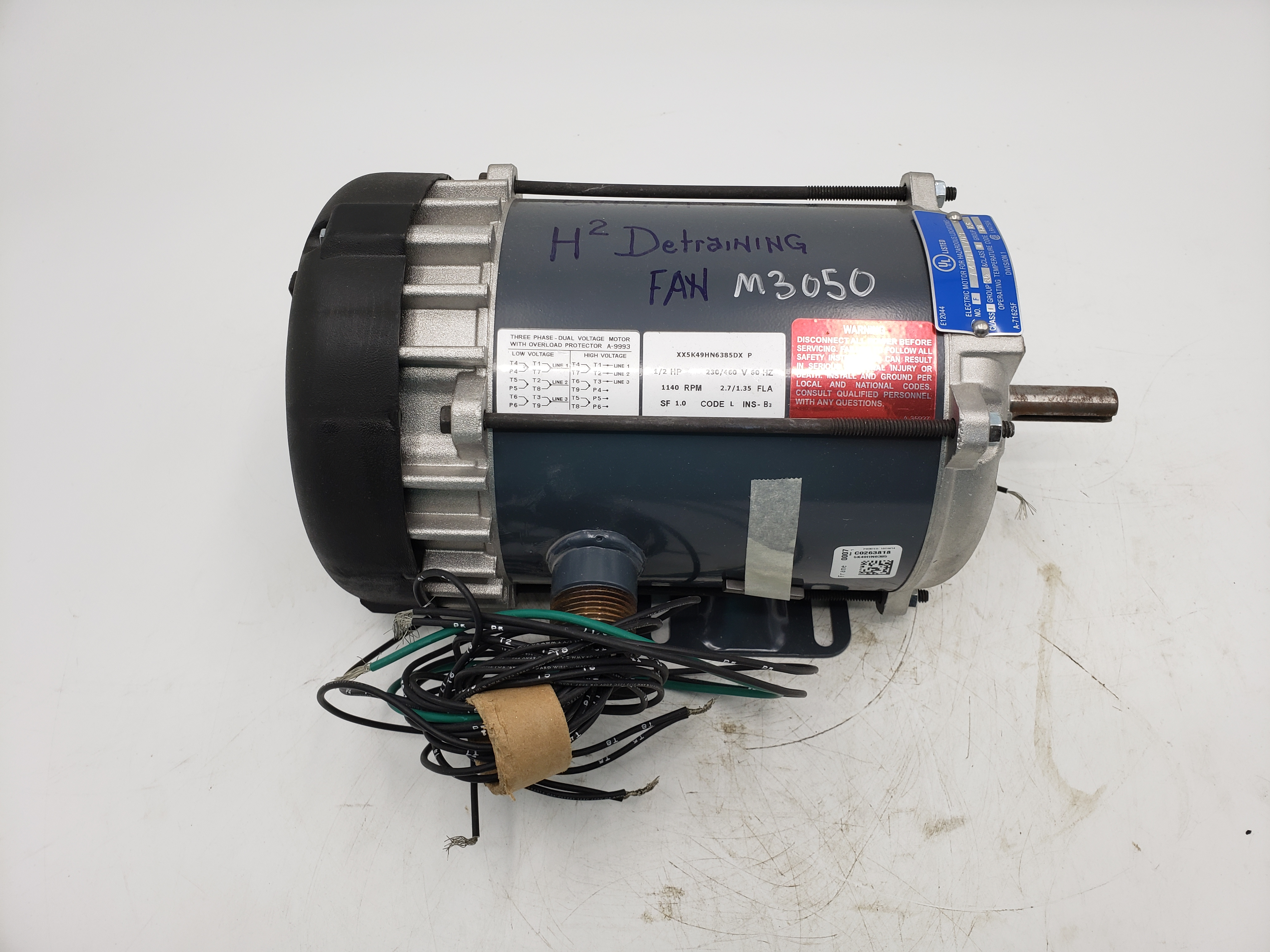 Marathon 1/2HP 230/460V 1140RPM Frame 56 Electric Motor
