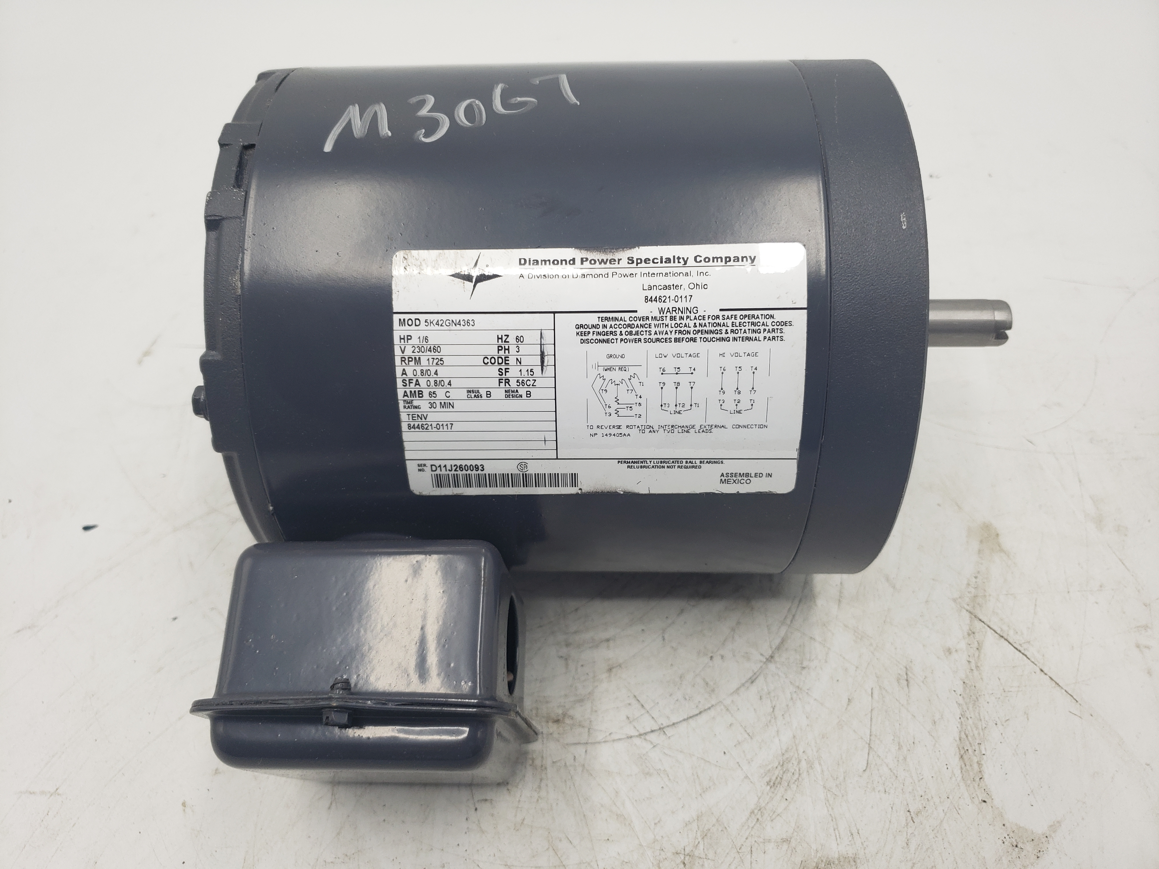Diamond Power 1/6HP 230/460V 1725RPM Frame 56CZ Electric Motor