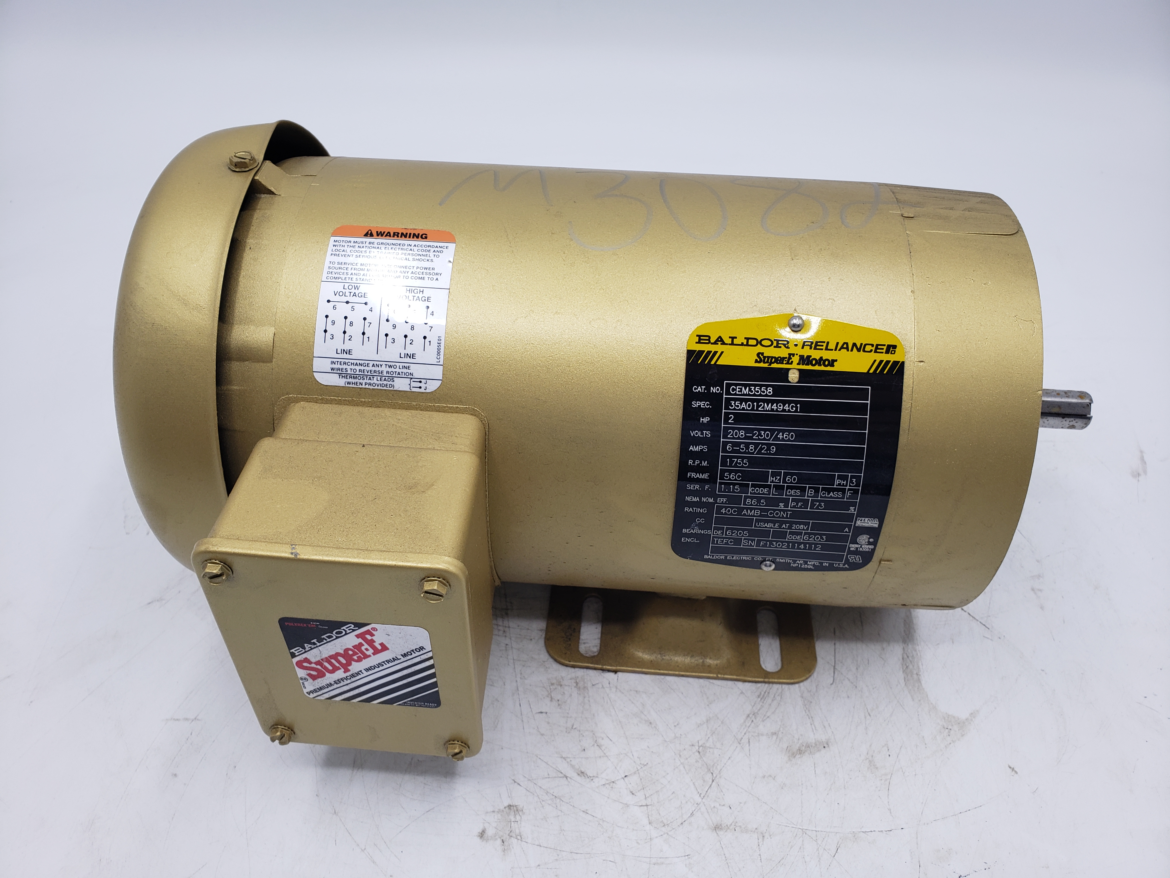 Baldor 2HP 208-230/460V 1755RPM Frame 56C Electric Motor