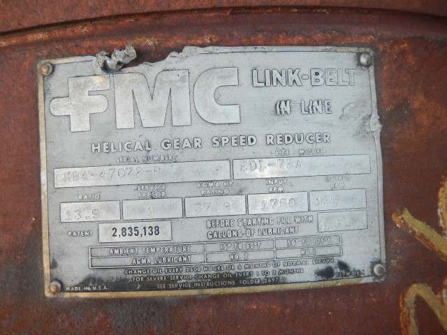 FMC Link - Belt EDI-72A 37.8 HP, 1750/125 RPM Gear Reducer