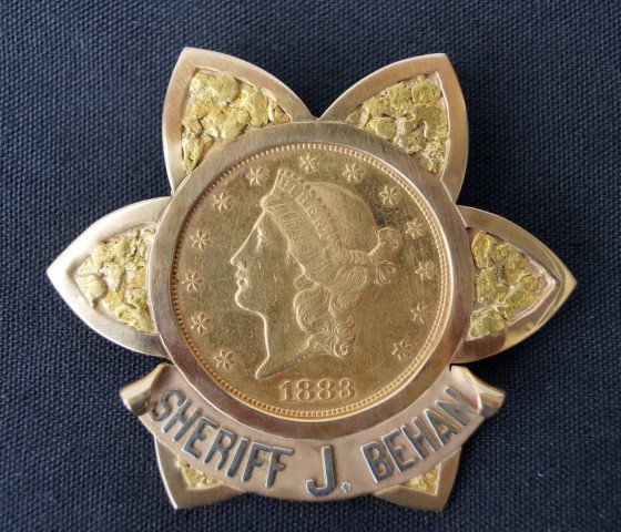 Sheriff J. Behan Badge 1883 ($20 Goldpiece)
