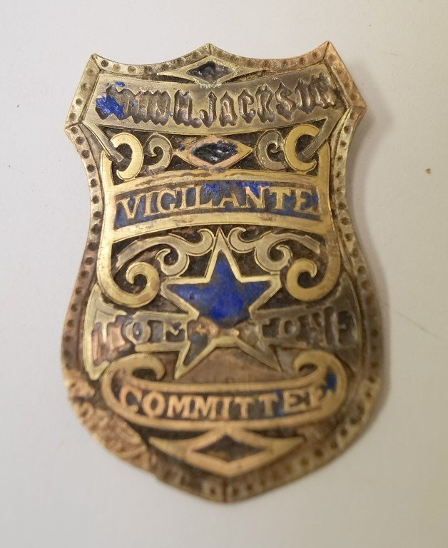 John H Jackson Vigilante Commission Badge Tombstone AZ