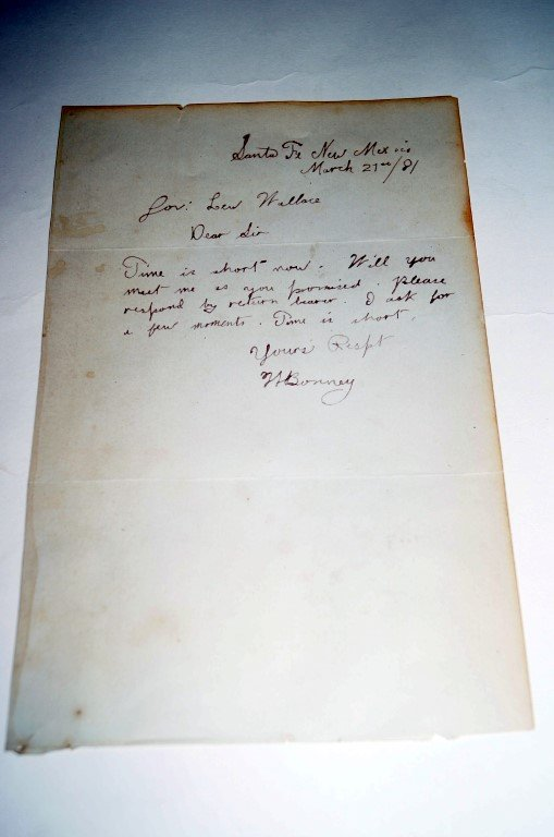 W.H. Bonny (Billy The Kid) Signed Letter to Gov. Lew Wallace