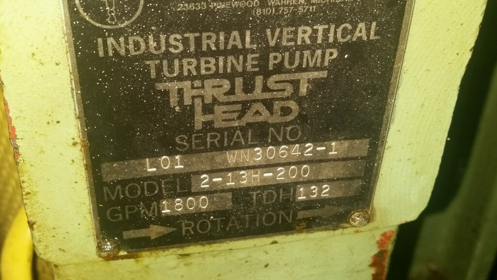 Process Systems, Inc. Industrial Vertical Turbine Pumps  Model 2