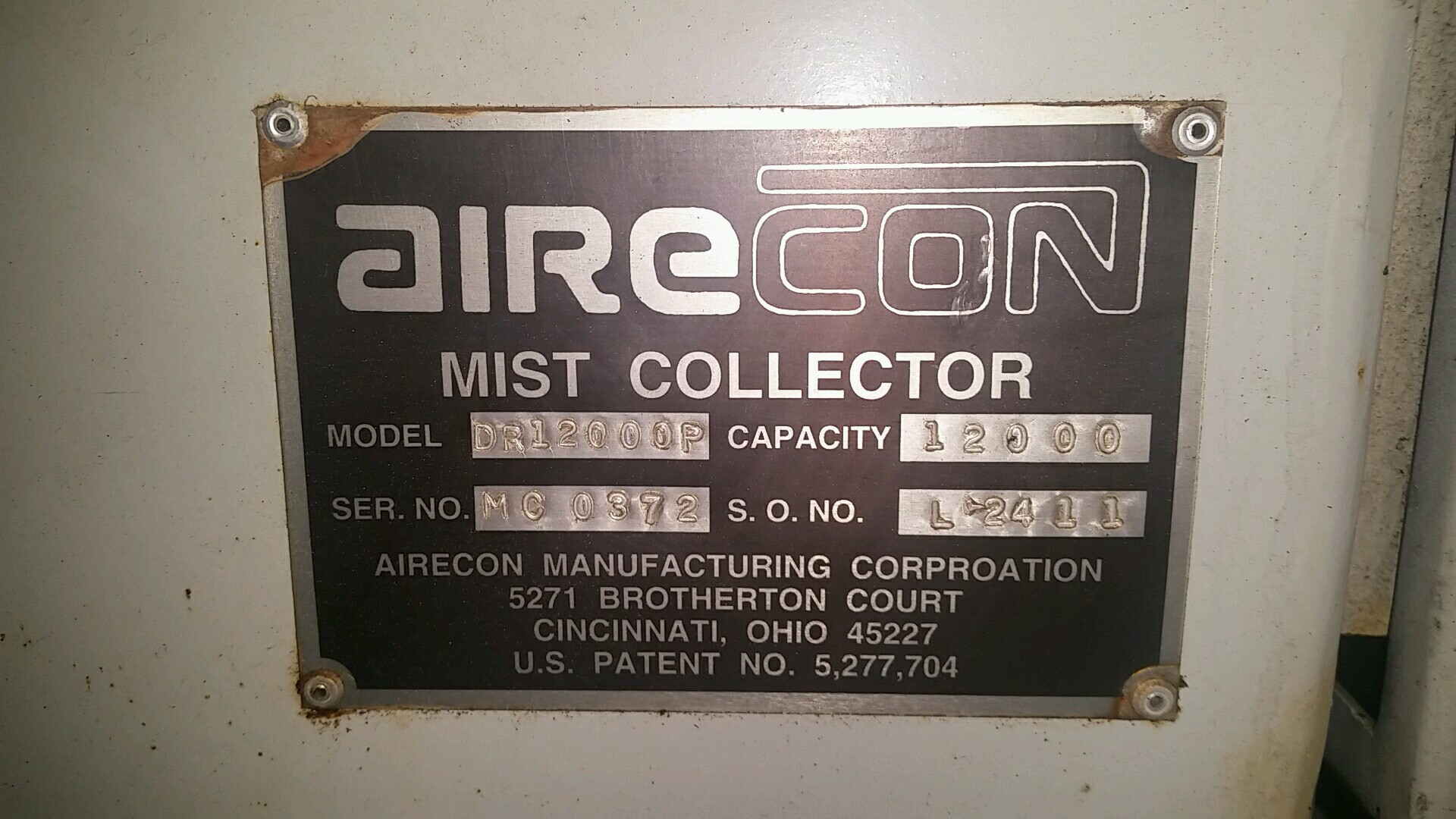 Airecon DR12000P Mist Collector  12,000 Capacity