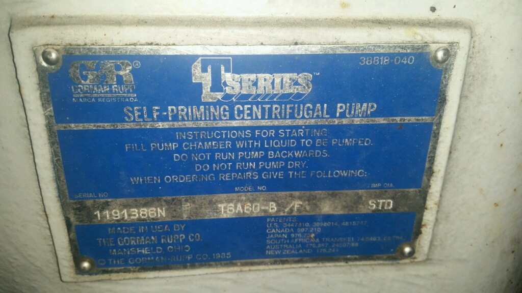 Gorman Rupp T6A60-B Self Priming Centrifugal Pumps