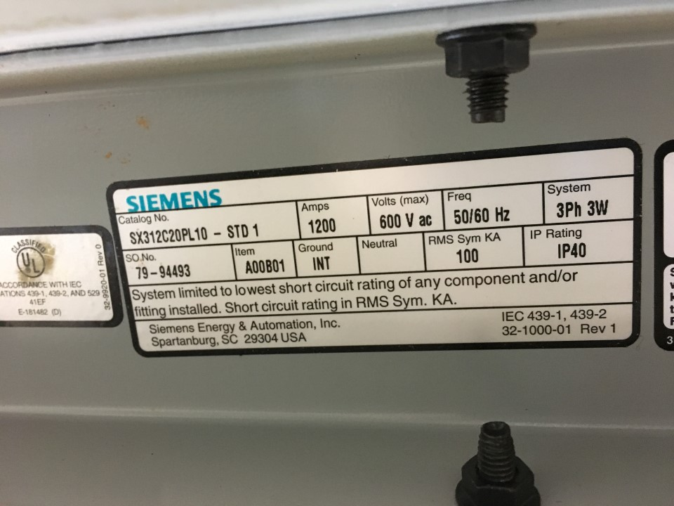 Siemens 1200 Amp 600v Bus Way
