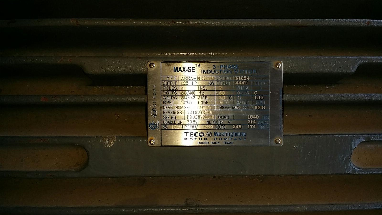 Teco Westinghouse 125 Hp 1775 Rpm 444t Frame Motor