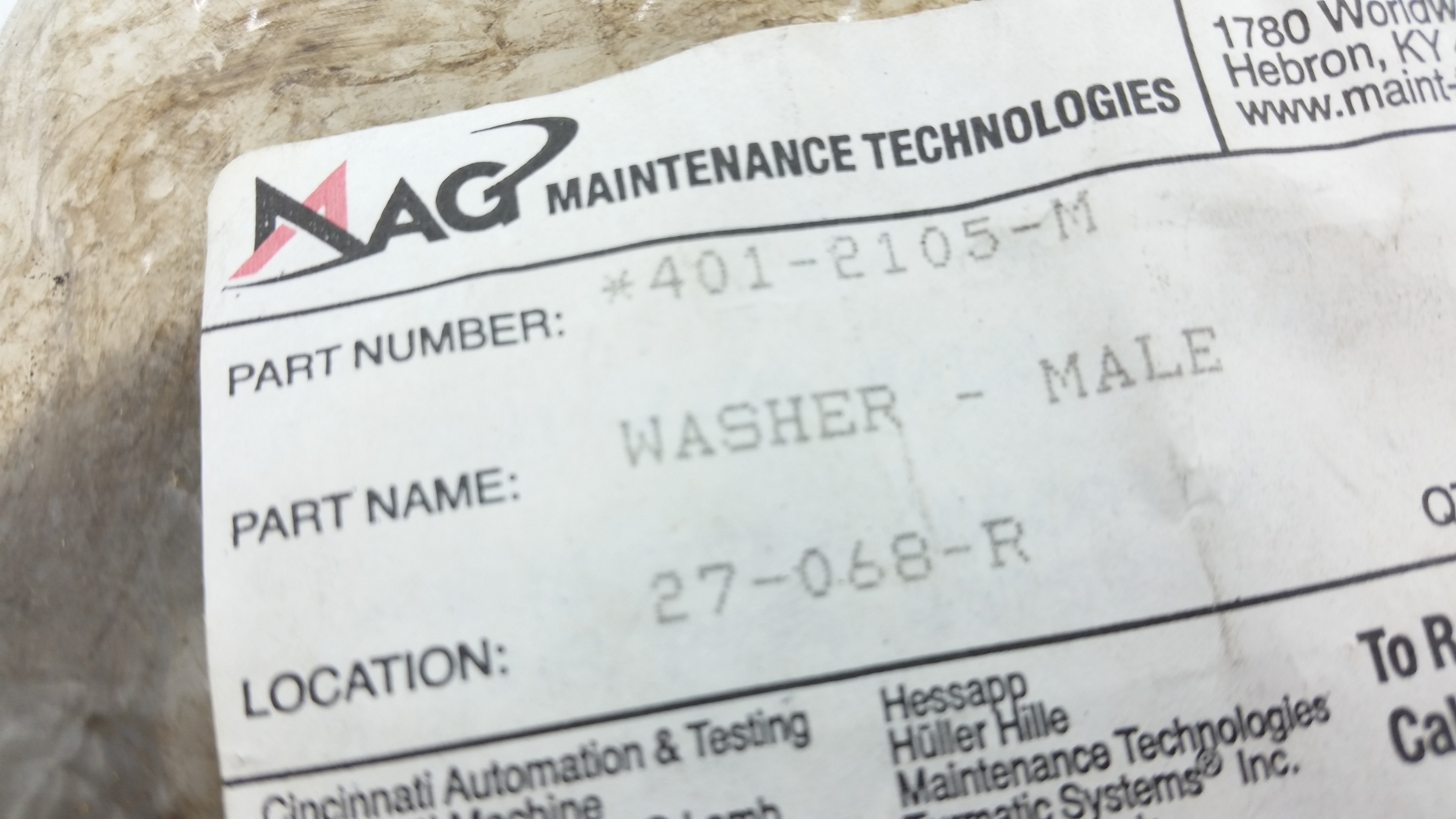 Maintenance Technologies Male Washer 401-2105-M
