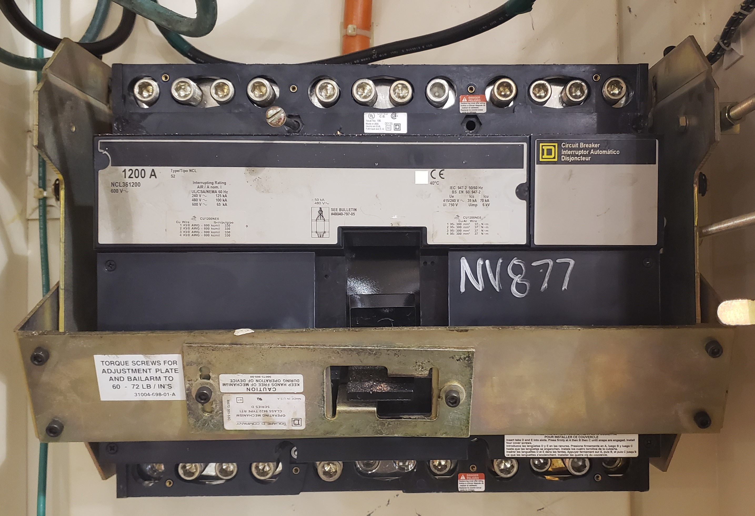 Square D 1200 Amp NCL361200 Molded Case Breaker