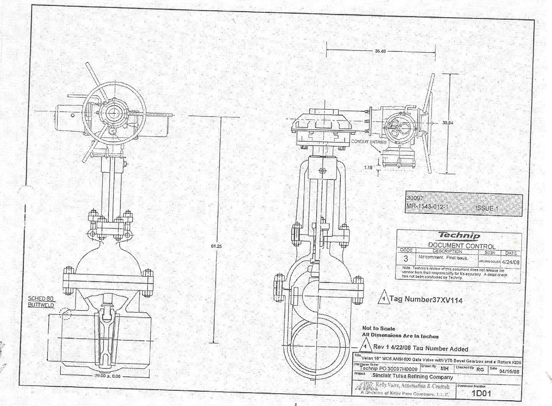 Diagram Velan 16 U0026quot 600 Wc6 Bwe Gate Valve With Rotork Actuator
