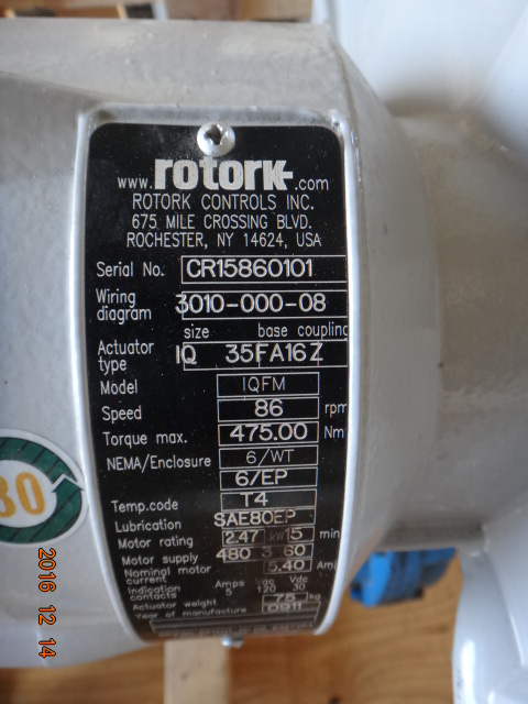Velan 16 Quot 600 Wc6 Bwe Gate Valve With Rotork Actuator